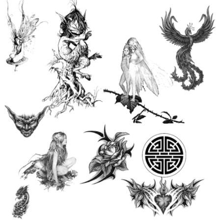 Набор кистей в виде мистических тату